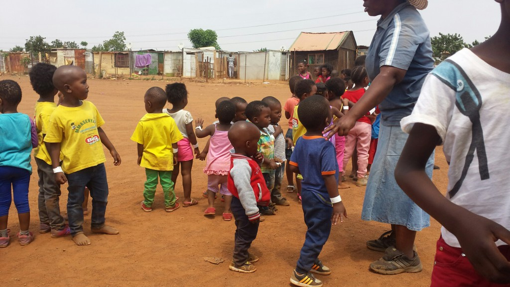 Kids from a nearby creche